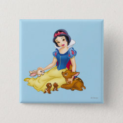 Square Button with Disney Princess Snow White with cute furry animal friends design