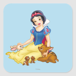 Square Sticker with Disney Princess Snow White with cute furry animal friends design