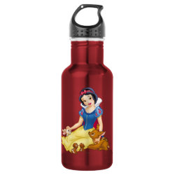 Water Bottle (24 oz) with Disney Princess Snow White with cute furry animal friends design