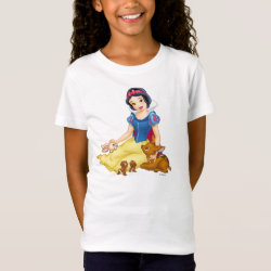 Girls' Fine Jersey T-Shirt with Disney Princess Snow White with cute furry animal friends design