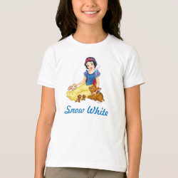 Girls' American Apparel Fine Jersey T-Shirt with Disney Princess Snow White with cute furry animal friends design