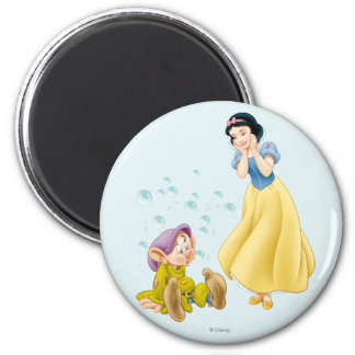 Snow White and Dopey Bubbles 2 Inch Round Magnet