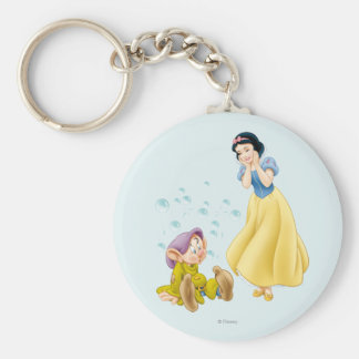 Snow White and Dopey Bubbles Basic Round Button Keychain