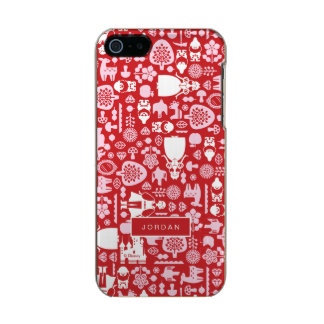 Snow White and Friends Pattern | Add Your Name Metallic iPhone SE/5/5s Case