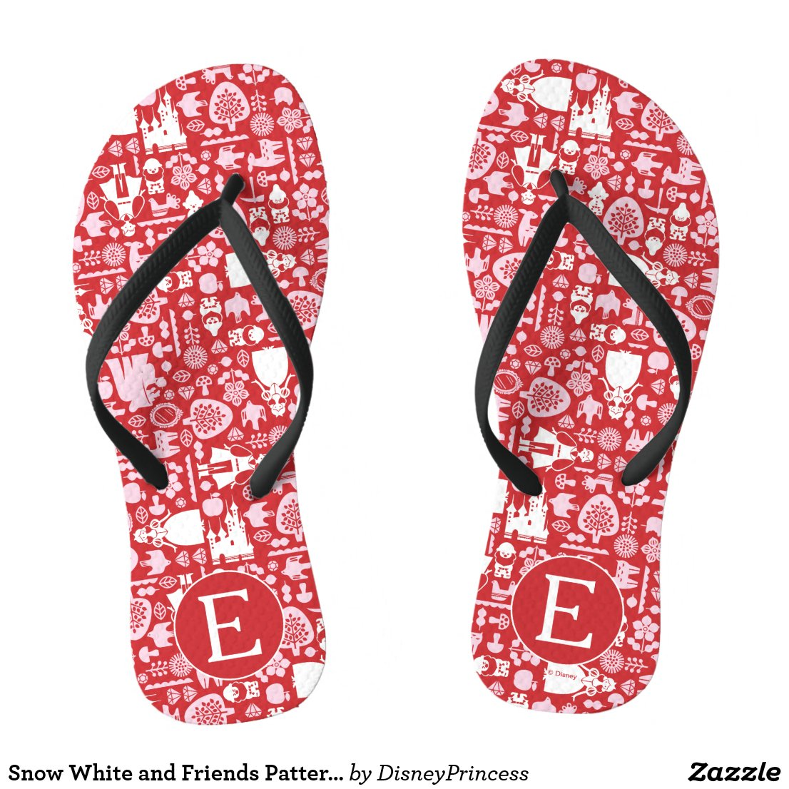 Snow White and Friends Pattern | Monogram Flip Flops