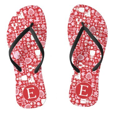 Disney Themed Snow White and Friends Pattern | Monogram Flip Flops