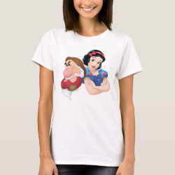 Women's Basic T-Shirt with Frozen's Kristoff with Olaf the Snowman and Sven the Reindeer design