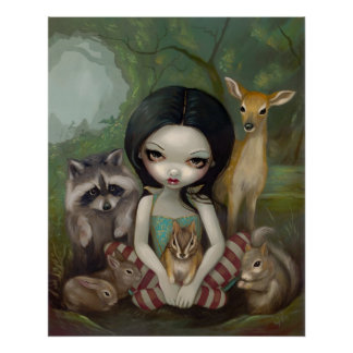 Snow White and Her Animal Friends fairy tale Print