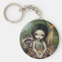 art, fantasy, snow, white, snow white, fairytale, fairytales, fairy tale, dark, forest, raccoon, deer, rabbit, bunny, squirrel, chipmunk, animal, animals, pet, pets, nature, princess, eye, eyes, big eye, big eyed, jasmine, becket-griffith, becket, griffith, jasmine becket-griffith, jasmin, strangeling, artist, goth, gothic, fairy, gothic fairy, faery, Keychain with custom graphic design