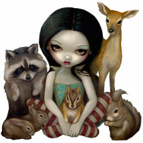 art, fantasy, snow, white, snow white, fairytale, fairytales, fairy tale, dark, forest, raccoon, deer, rabbit, bunny, squirrel, chipmunk, animal, animals, pet, pets, nature, princess, eye, eyes, big eye, big eyed, jasmine, becket-griffith, becket, griffith, jasmine becket-griffith, jasmin, strangeling, artist, goth, gothic, fairy, gothic fairy, faery, Photo Sculpture with custom graphic design