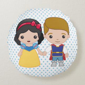 Snow White and Prince Charming Emoji Round Pillow
