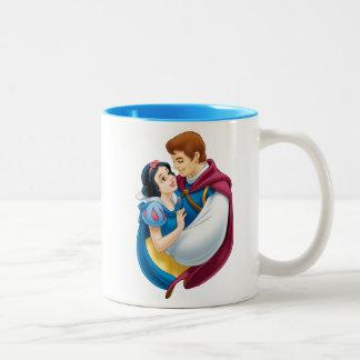 Snow White and Prince Charming Hugging Two-Tone Coffee Mug