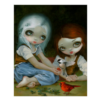 Snow White and Rose Red art print Jasmine Becket