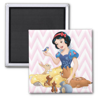 Snow White and the Forest Animals 2 Inch Square Magnet