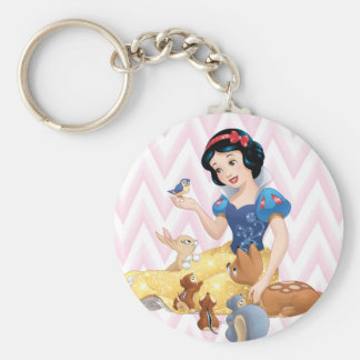Snow White and the Forest Animals Basic Round Button Keychain