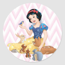 Snow White and the Forest Animals Classic Round Sticker