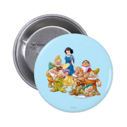 Round Button with Cute Snow White & The Seven Dwarfs design