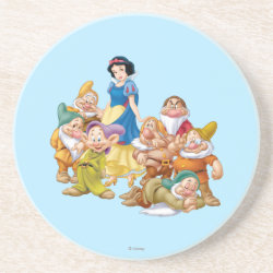 Sandstone Drink Coaster with Cute Snow White & The Seven Dwarfs design