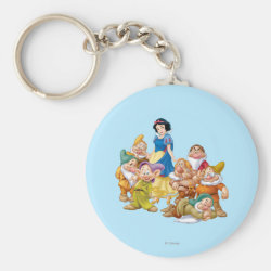 Basic Button Keychain with Cute Snow White & The Seven Dwarfs design