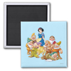 Square Magnet with Cute Snow White & The Seven Dwarfs design