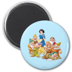 Round Magnet with Cute Snow White & The Seven Dwarfs design