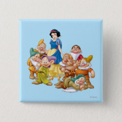 Cute Snow White & The Seven Dwarfs Square Button