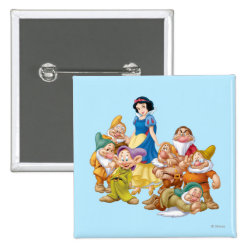 Square Button with Cute Snow White & The Seven Dwarfs design