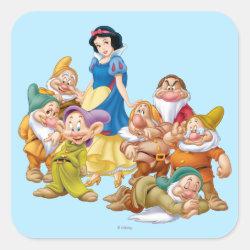 Square Sticker with Cute Snow White & The Seven Dwarfs design