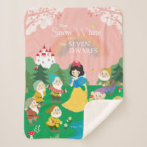 Snow White and the Seven Dwarfs Cartoon Sherpa Blanket
