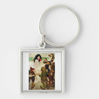 Snow White and the Seven Dwarfs Silver-Colored Square Keychain