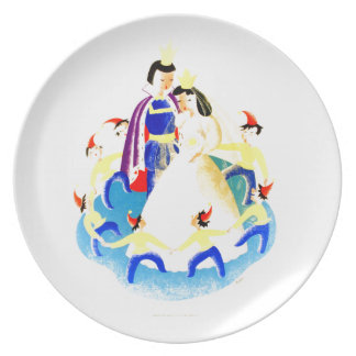 Snow White and the Seven Dwarfs Vintage WPA Print Dinner Plate