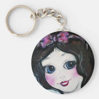 Snow White Basic Round Button Keychain