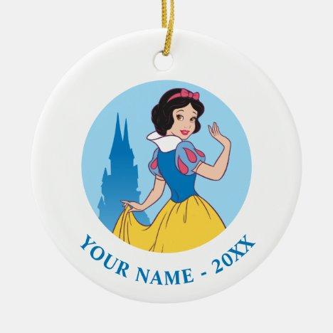 Snow White & Castle Graphic Ceramic Ornament