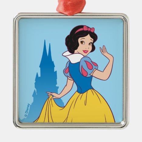 Snow White & Castle Graphic Metal Ornament