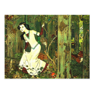 Snow White Chased By Wolves Postcard
