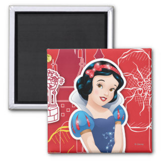 Snow White - Cheerful and Caring 2 Inch Square Magnet
