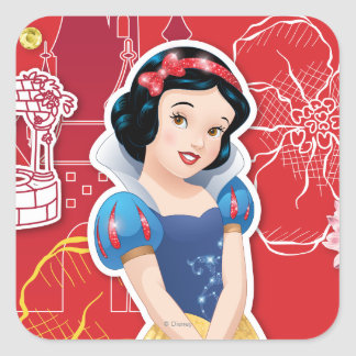 Snow White - Cheerful and Caring Square Stickers