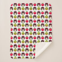 Snow White Emoji Land Pattern Sherpa Blanket