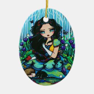 Snow White Forest Fairy Animal Art by Hannah Lynn Ceramic Ornament