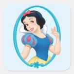 Snow White Frame Square Stickers