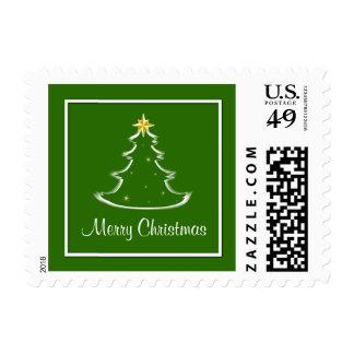 Snow White & Green Merry Christmas Tree Postage