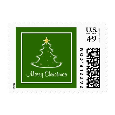 Aztec Themed Snow White & Green Merry Christmas Tree Postage