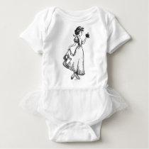 Snow White   Holding Apple - Elegant Sketch Baby Bodysuit