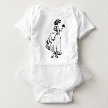 Disney Themed Snow White | Holding Apple - Elegant Sketch Baby Bodysuit