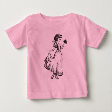 Disney Themed Snow White | Holding Apple - Elegant Sketch Baby T-Shirt