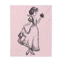 Snow White   Holding Apple - Elegant Sketch Fleece Blanket