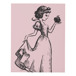 Snow White | Holding Apple - Elegant Sketch Panel Wall Art