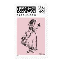 Snow White   Holding Apple - Elegant Sketch Postage