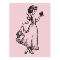 Snow White   Holding Apple - Elegant Sketch Postcard