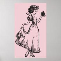 Snow White   Holding Apple - Elegant Sketch Poster
